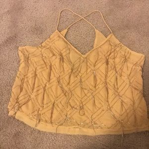 Free People small yellow beaded top